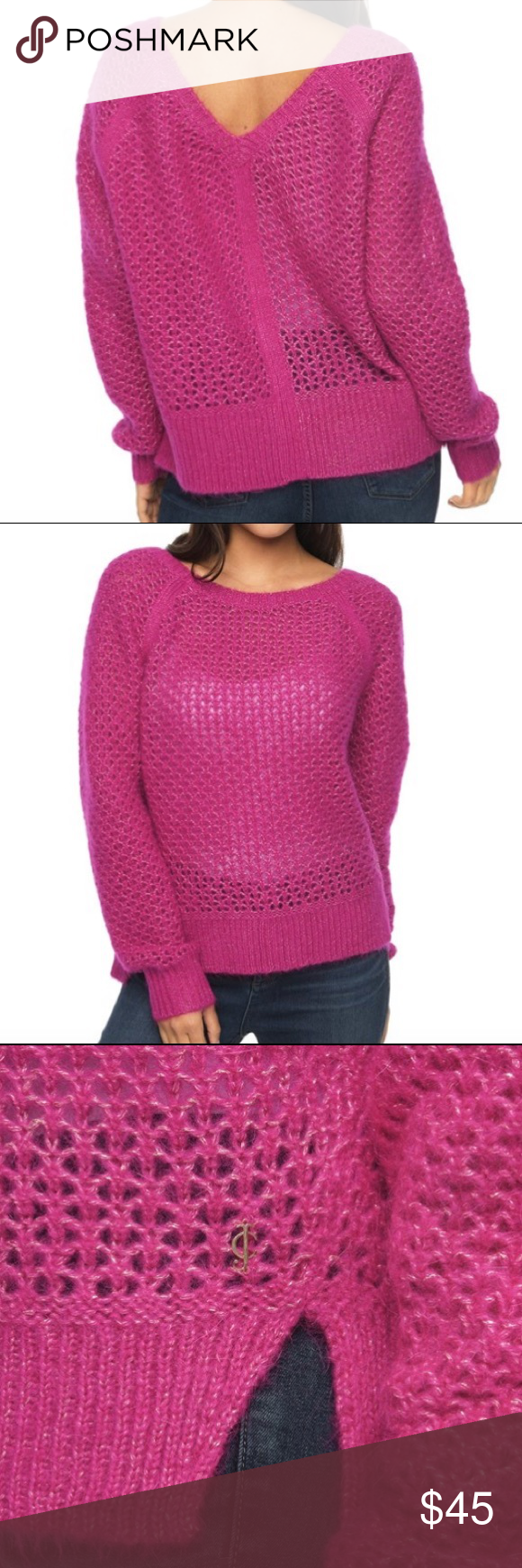 """Oversized Juicy Sweater This beauty has a touch of sparkle. High low hem and back cutout add appeal. Round neckline, long sleeves, side slits. 20"""" from shoulder to hem. 35% mohair 35% mercerized merino wool 30% lurex. Dry clean. No trades. Juicy Couture Sweaters Crew & Scoop Necks"""
