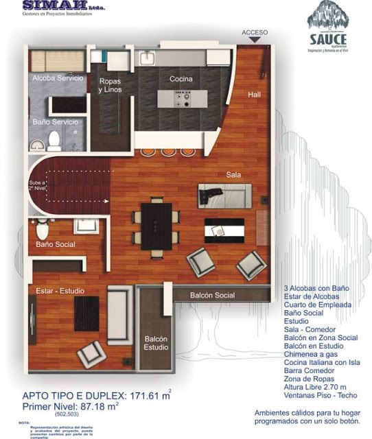 Planos de duplex penthouse con 3 dormitorios planos de for Diseno apartamentos duplex pequenos