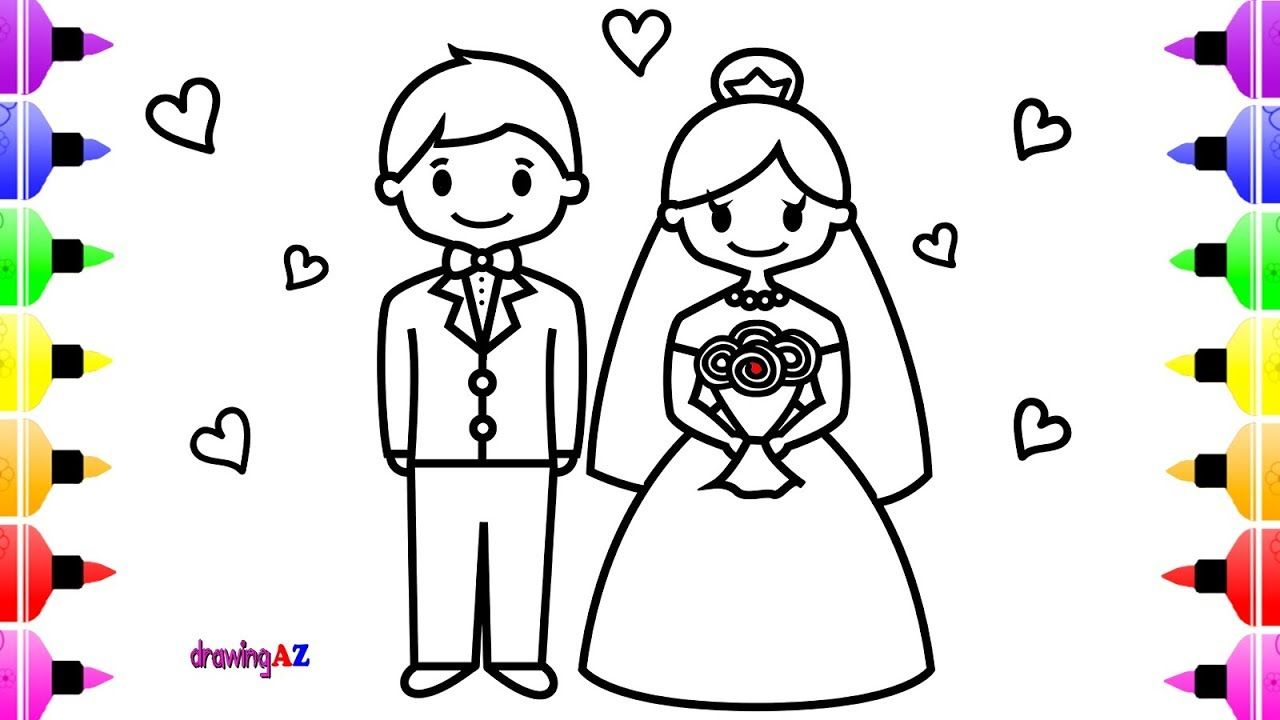 Wedding Bride And Groom Coloring Page For Kids Children S Coloring Book Childrens Colouring Book Designs Coloring Books Coloring Pages For Kids