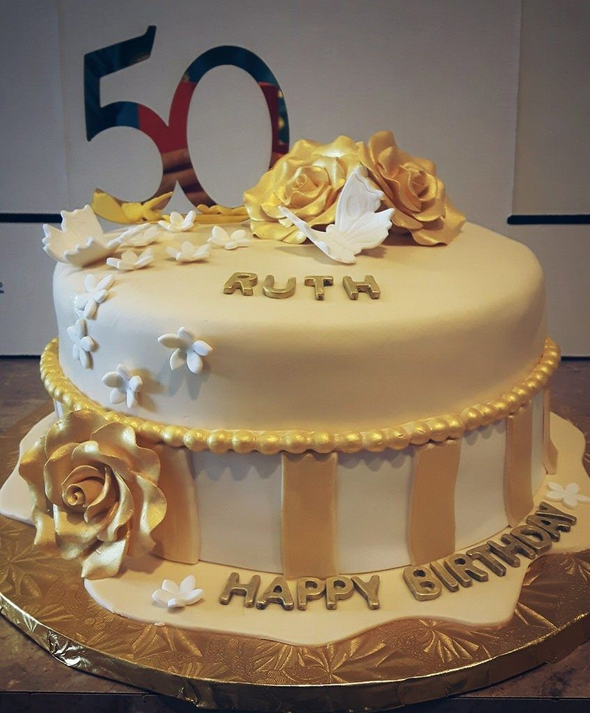 Admirable Birthday Cakes For Her Golden Birthday Cake Ordered Angela Funny Birthday Cards Online Inifodamsfinfo