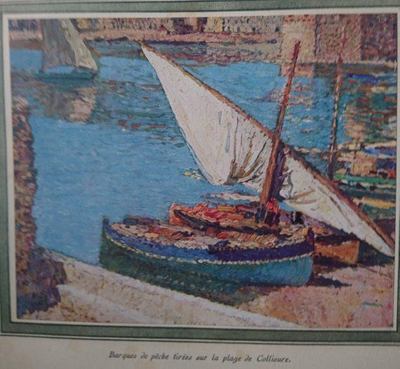 Old Fishing Boats On Beach: Original Vintage French Art Lithograph By Henri Martin