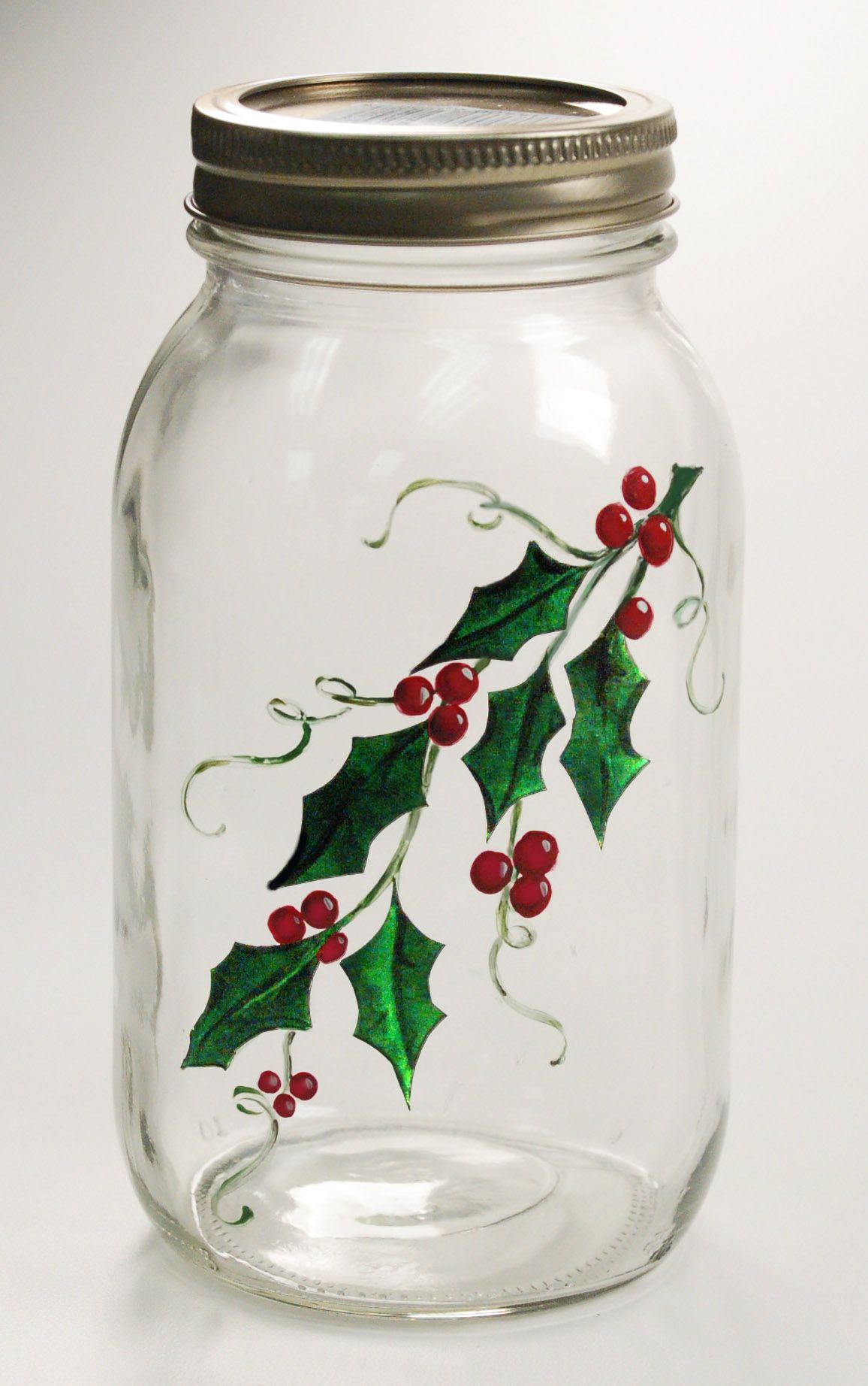 Christmas Gift Quart Mason Jar With Painted Holly Crafts With Glass Jars Christmas Jars Painting Glass Jars