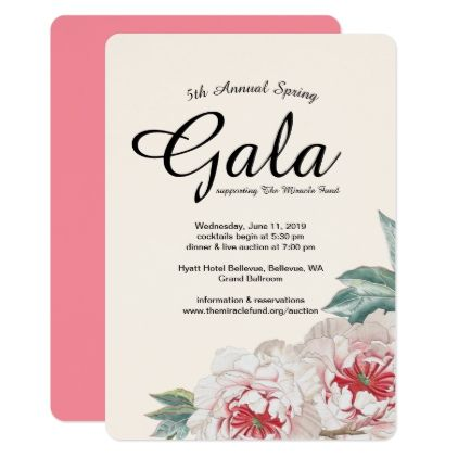 Peony Bouquet Gala Fundraiser Invitation - #wednesday #wednesdays - fundraiser invitation