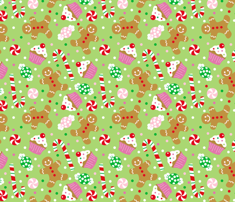 Gingerbread Man Cookie Christmas Holiday Fabric Printed by Spoonflower BTY