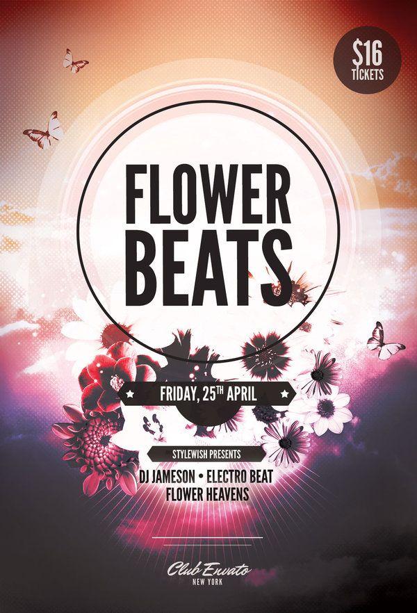 Flower Beats Flyer Template by styleWish (Buy PSD file $9) Party - karaoke night flyer template