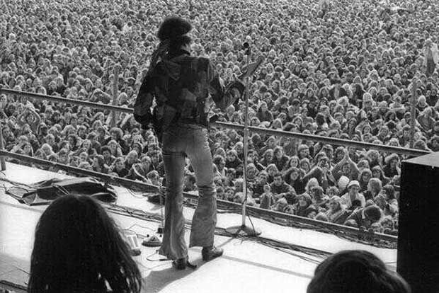Last concert of Jimi Hendrix during the Festival of Love and Peace. Germany, year 1970.