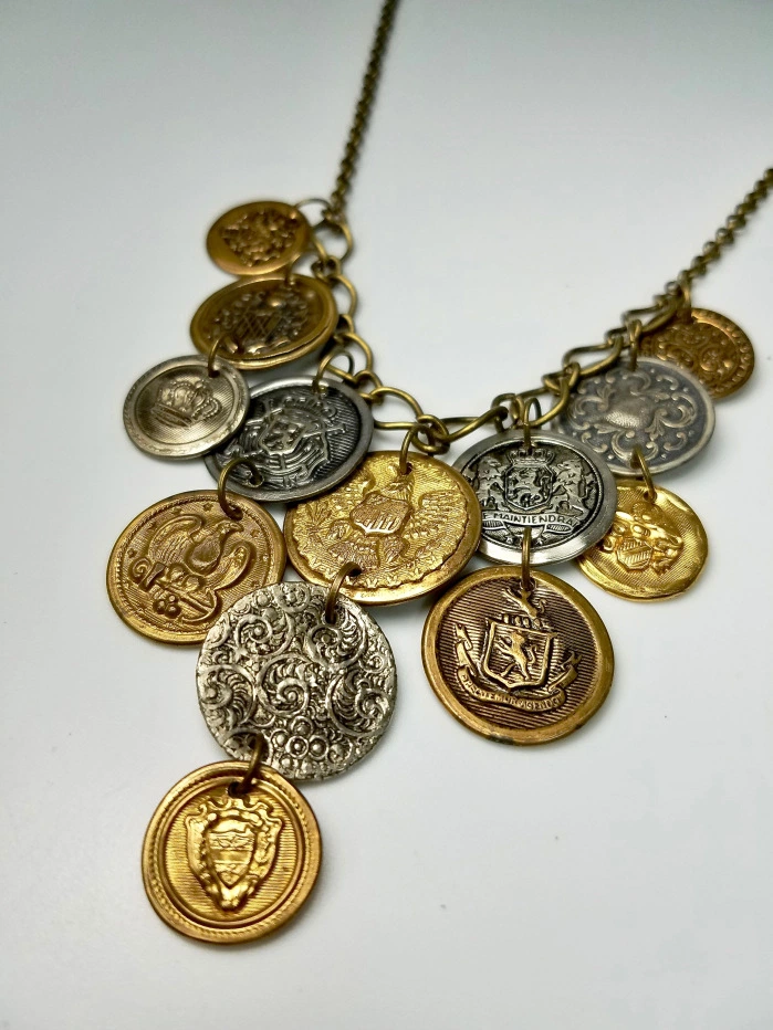 Make a Statement Coin Necklaces is part of Coin jewelry, Coin necklace, Original necklace, Necklace, Statement necklace, Jewelry - Make a Statement With Coin Necklaces Coin necklaces are very much in style for the 201920 season  Not only are coins hot but mixed metals including gold is right on trend  You can f…