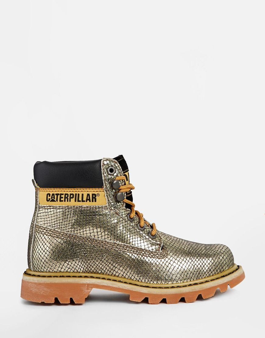 Image 2 of Cat Footwear Colorado Burnish Brights Gold Leather Ankle Boots