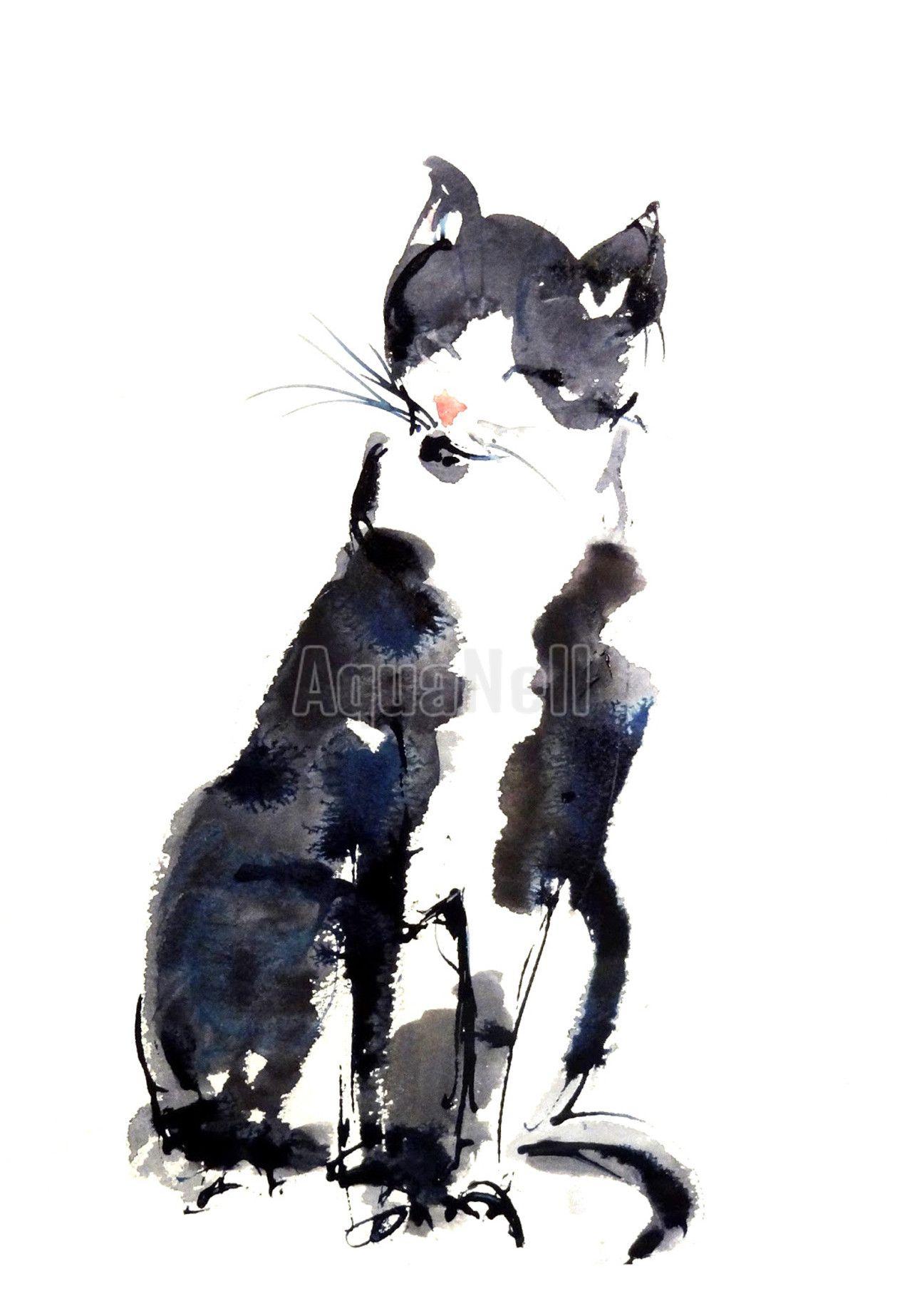 Peinture Aquarelle Mariage Pour Decorer Vos Faire Part Chat Noir