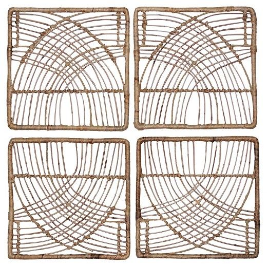 """Target Wall Hangings $28.49 sale rattan wall décor natural (14""""x14"""") 4-pack threshold"""