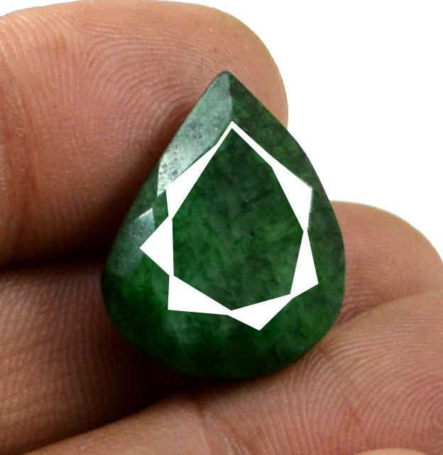 23ct Big Natural Certified Pear Pendant Size Green Emerald Loose Rare Gemstone