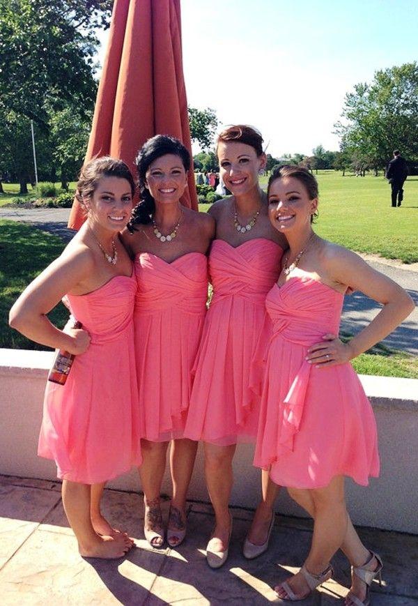 Coral wedding, Coral bridesmaid dresses 2014, Cheap A line Custom ...