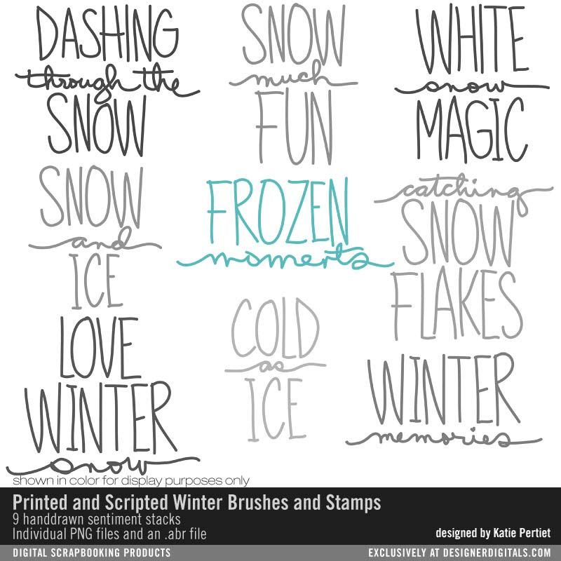 Printed and Scripted Winter Brushes and Stamps handdrawn