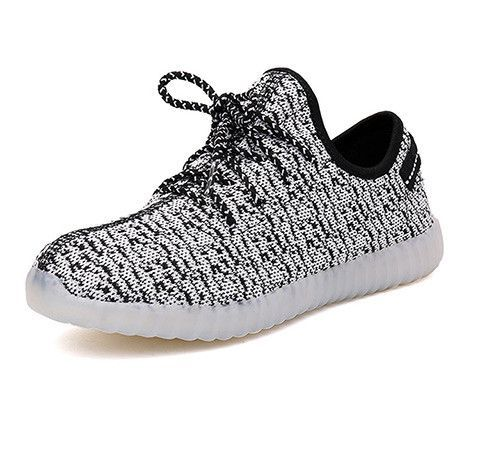 Breath Children Baby Kids Mesh Yeezy Shoes Light Up 7 Colors Boys Trainers  Led Lace-