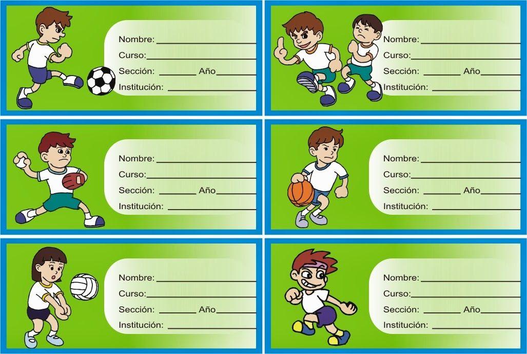 etiquetas con niños haciendo deporte