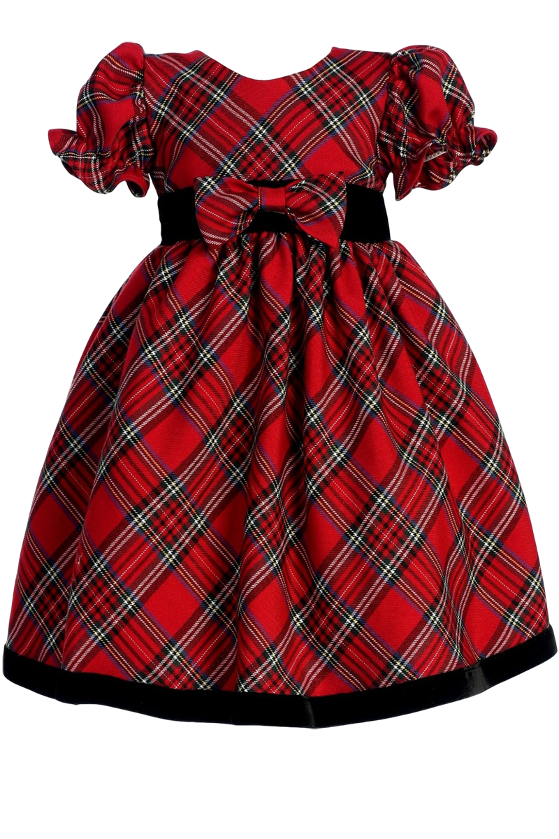 e6196604126b Red & Green Plaid Girls Holiday Dress w. Ruffle Sleeves 3m-4T ...