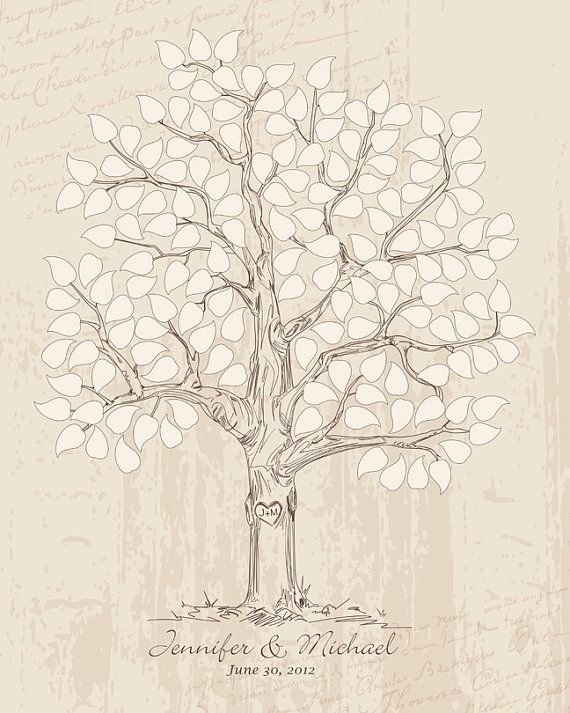 16x20 Hand drawn Wedding Guest book Signature Tree by fancyprints, $45.00