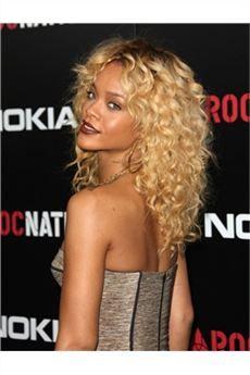 Cabello Rihanna Peluca de Encaje Rizado con 100%Cabello Humano 18 Pulgadas