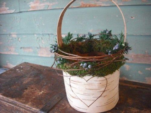 Birch bark vines &  berry flower girl basket engraved for your wedding | NHWoodscreations - Wedding on ArtFire