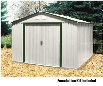 10x12 Del Mar Metal Shed With Foundation Kit In Green Trim Metal Shed Duramax Sheds Shed