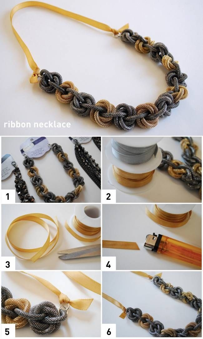 Diy ribbon necklace diy projects pinterest diy necklace and diy ribbon necklace diy craft crafts craft ideas easy crafts diy ideas easy diy kids crafts diy jewelry craft jewelry craft bracelet diy necklace jewelry solutioingenieria Images
