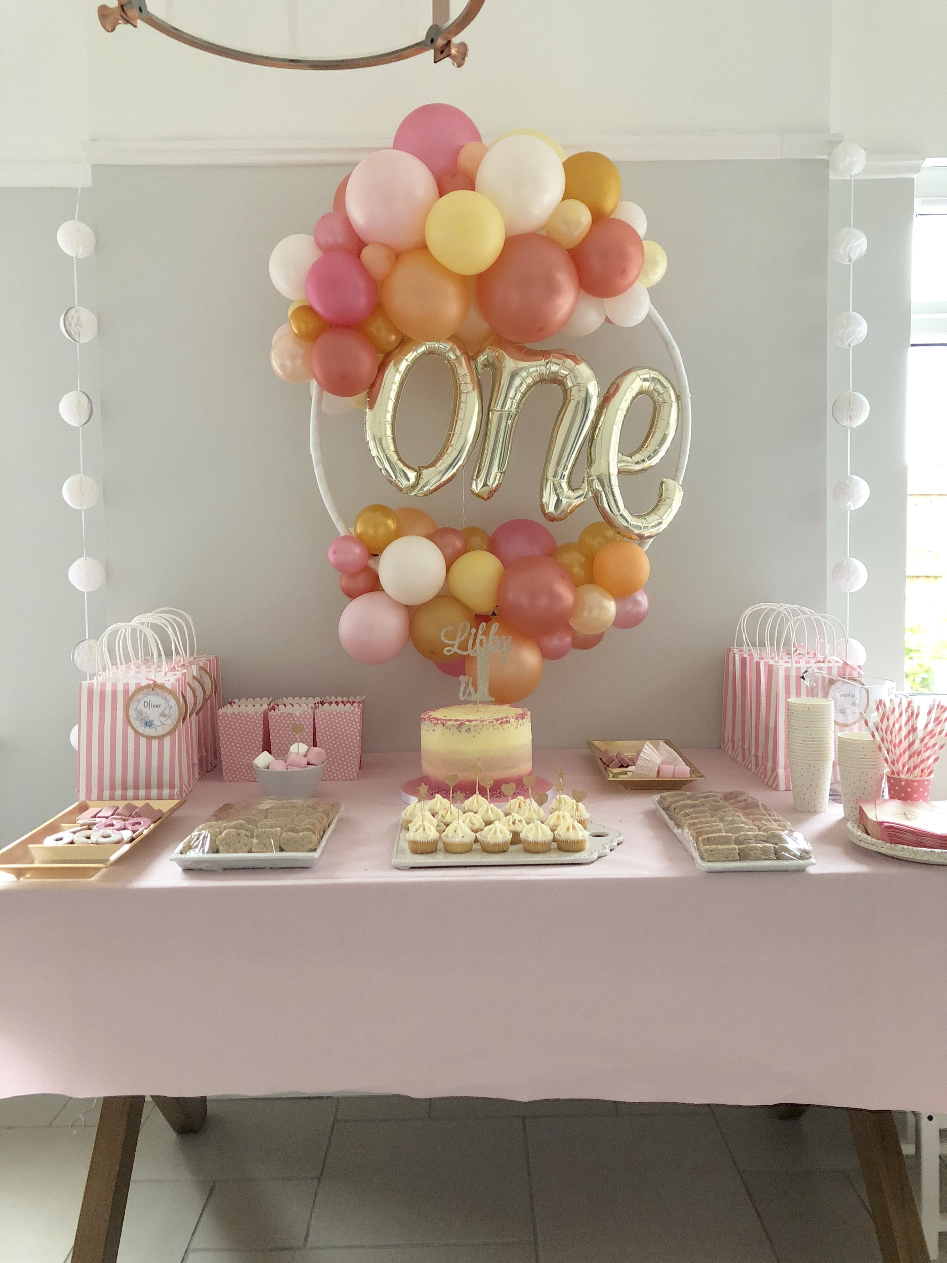 1st Birthday Girl Balloons One Balloon Party Decorations Pink And Rose Gold Hoop