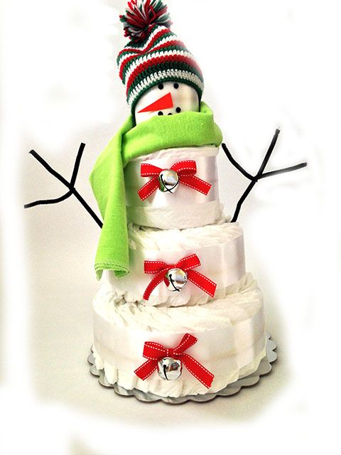 All Diaper Cakes - Snowman Holiday Diaper Cake, $74.95 (http://alldiapercakes.com/snowman-holiday-diaper-cake/)