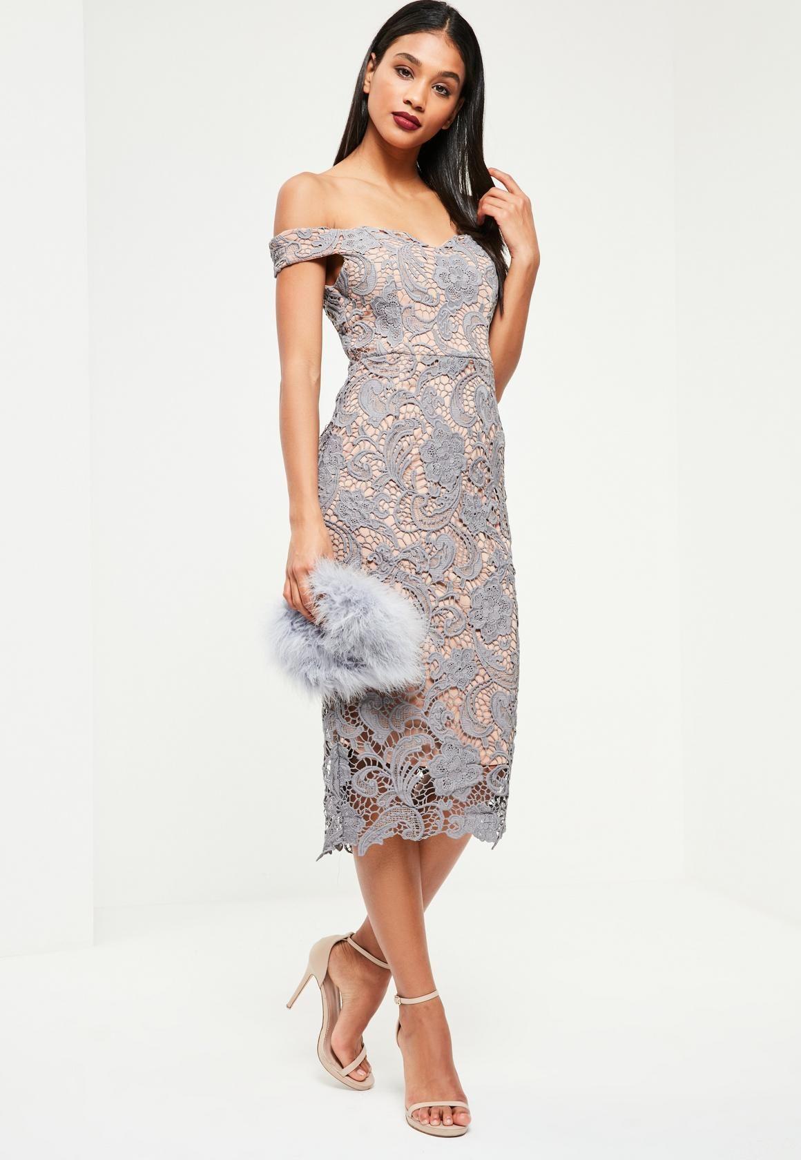 19a1c9f6a93 Missguided - Grey Bardot Lace Midi Dress