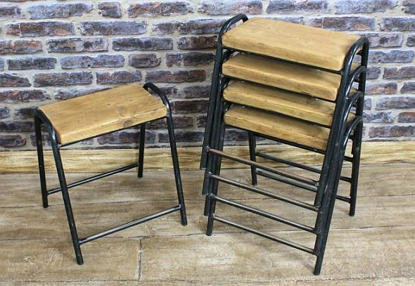 Astounding Original Vintage Stacking Stools Dating From 1950S 1960S Theyellowbook Wood Chair Design Ideas Theyellowbookinfo