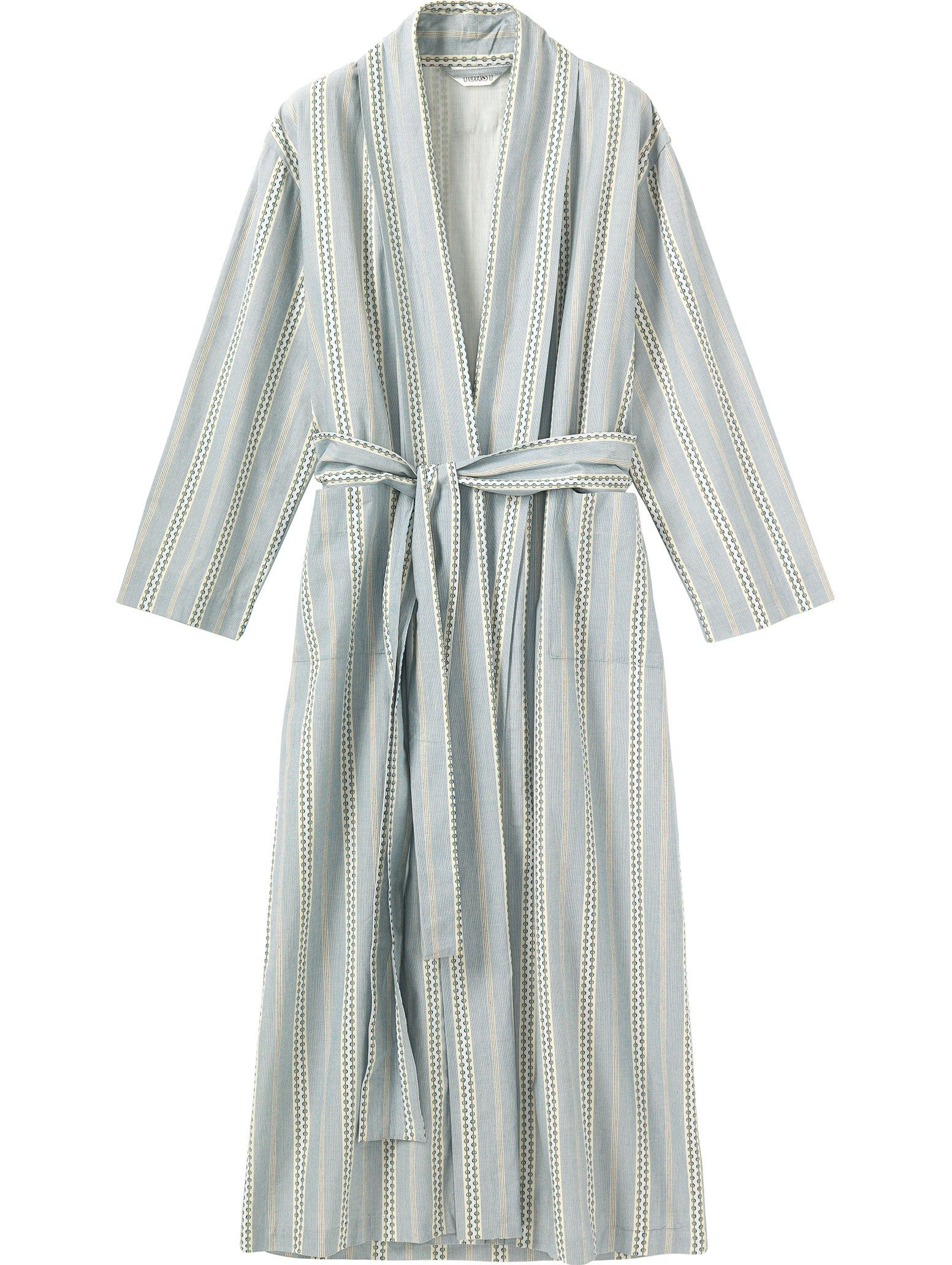 WOVEN DOBBY STRIPE GOWN - Long gown in a yarn-dyed, woven cotton dobby stripe. Two patch pockets. Self tie.