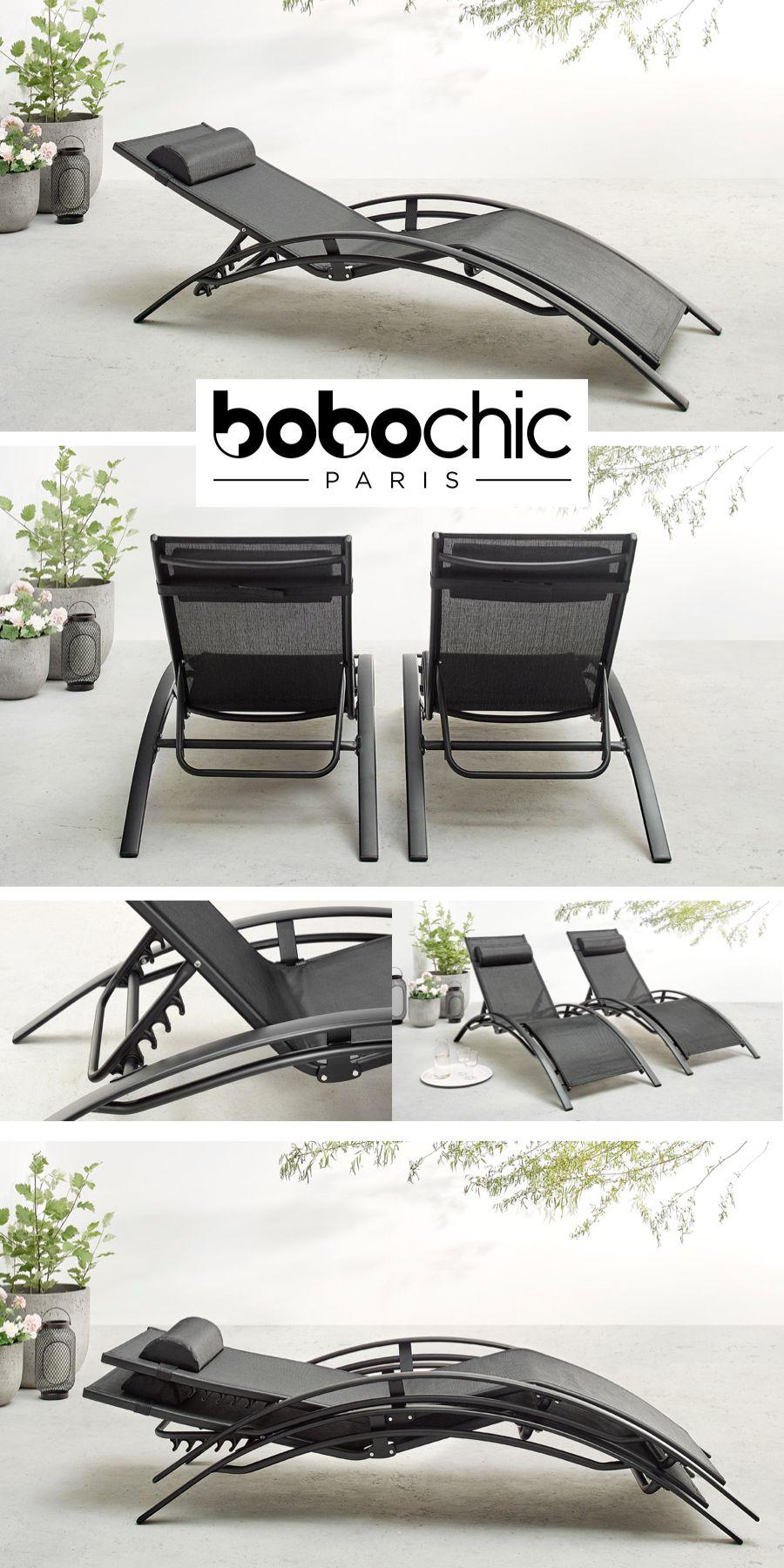 duo de chaises longue transat métalique avec tissu ...