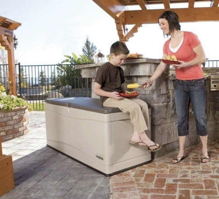 Outside Storage Bench Seat Box Deck Organizer Garden Pool 130 Gallon Lockable Outsidestoragebenchseat Deck Box Storage Deck Box Outdoor