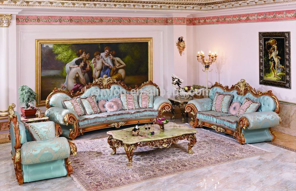 Luxury French Style Classic Fabric Chesterfield Living Room Sofa Fancy Wood Carving Sofa Set Noble Blue Fabric Living Room Sofa Set Blue Fabric Sofa Furniture