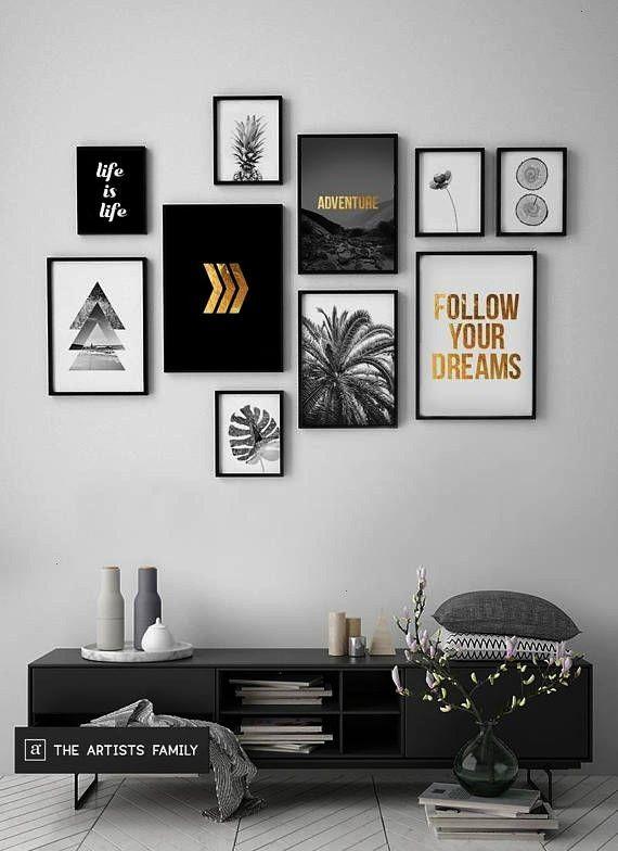 zum Herunterladen 10erSet Minimalist Minimal Ananas Boho Art Walls Gold Monstera Slices botanische Blume Dreieck Pfeile schwarz weiß Drucke zum Herunterladen 10erSe...