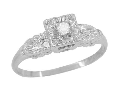 Retro Moderne Scrolls and Clover Vintage Diamond Engagement Ring in 14 Karat White Gold $390.00 http://www.antiquejewelrymall.com/r746.html