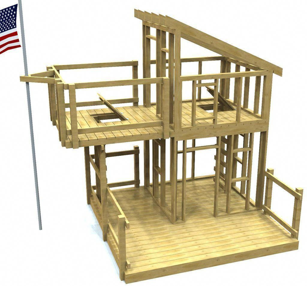 2 level shed roof playhouse plan with overhanging porch