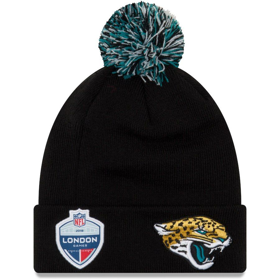 0152a3a50f1 Men s Jacksonville Jaguars New Era Black Union Jack Bobble Cuffed Knit Hat  with Pom
