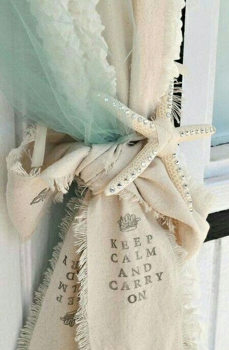 Love The Idea Of Adding Tulle Along With Curtain Starfish Tieback Sea Glass Colored Adds Another Interesting Layer To This Beachy