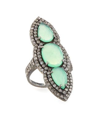 Bavna Chrysoprase & Diamond Pavé Ring, Size 7