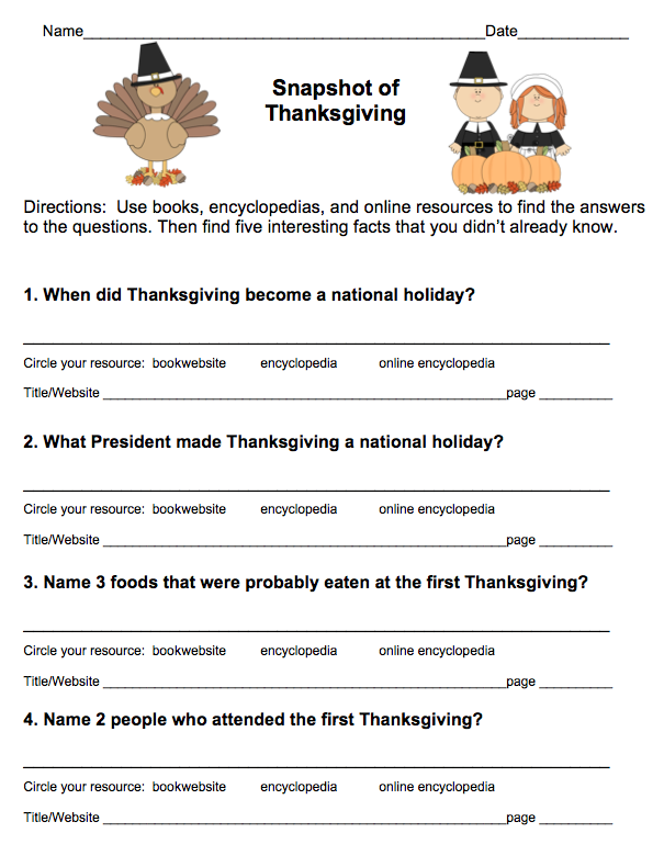 Thanksgiving Worksheets For 3rd Grade : Free thanksgiving research scavenger hunt grades