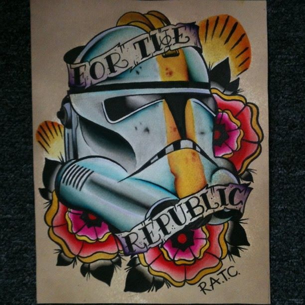 Traditional Star Wars Tattoo Flash by Steve Rieck Las Vegas painted in 2011