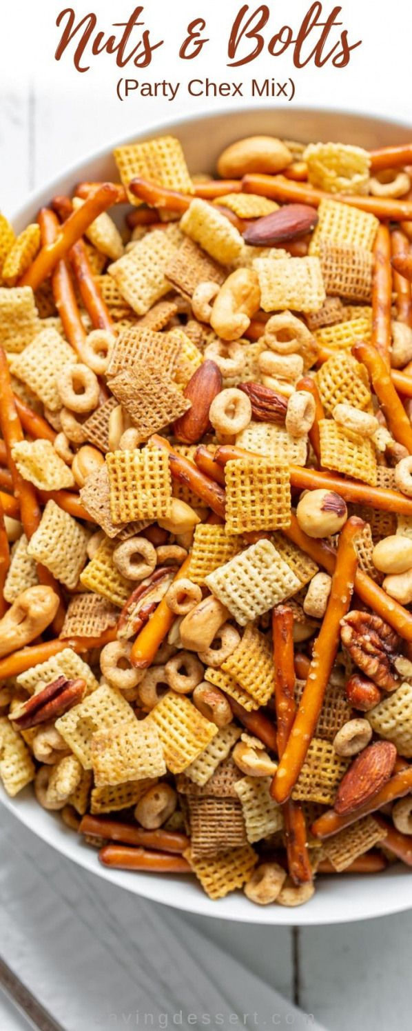 Nuts & Bolts also known as Party Chex Mix is one of the easiest most beloved delicious quintessential holiday snacks ever invented! A terrific snack for the holidays parties and football!