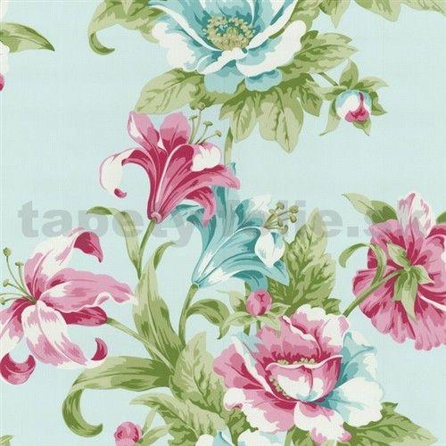 Tapety na stenu Home Sweet Home - ľalie ružovo-tyrkysové