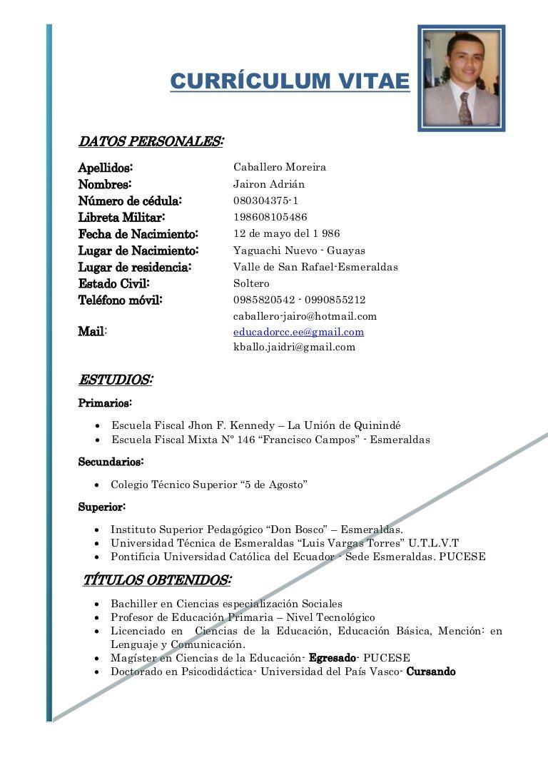 Resultado de imagen para curriculum vitae basico ecuador | Diseño ...
