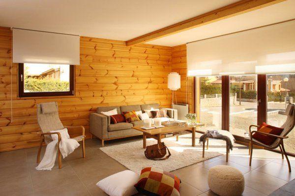 parement mural en bois, salon lumineux contemporain