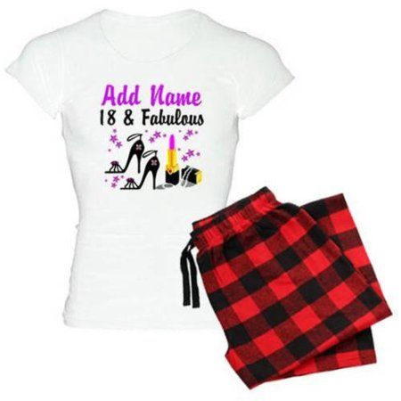 Cafepress Personalized Happy 18th Birthday Women's Light Pajamas, Size: 2XLarge (+$3.00), Red