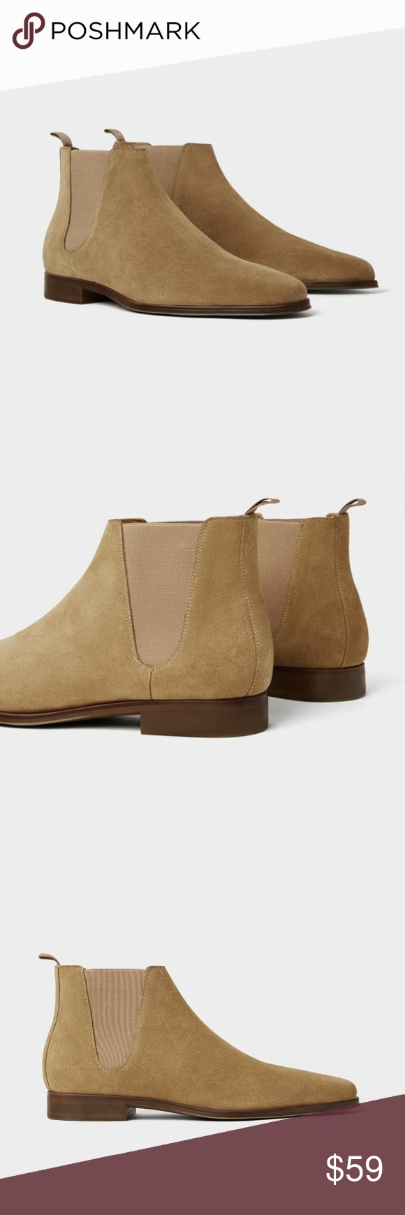 ZARA Beige leather sporty ankle boots