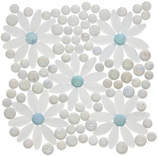 Daisy gardens white flowers light blue centers with clear iridescent glass tile mix also