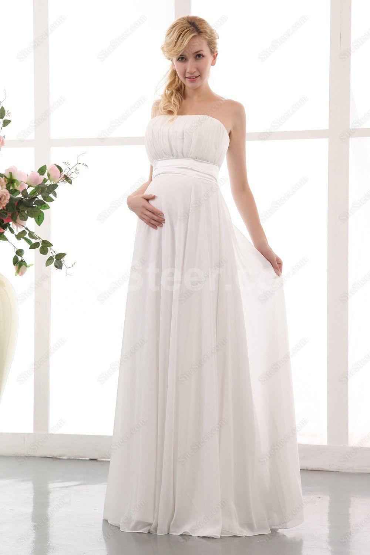 Cheap casual wedding dresses  Ivory Strapless Plus Size Wedding Dresses  Empire Waist Floor