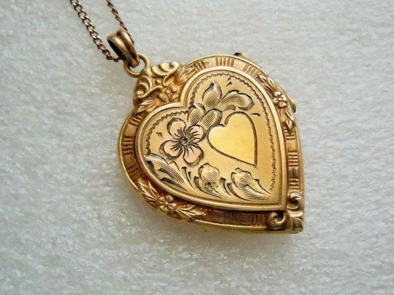 "Vintage Heart Locket Necklace GF Locket Etched 16"" Chain Gift for Mom Mothers Day Romantic Jewelry New Mother Signed Jewelry"